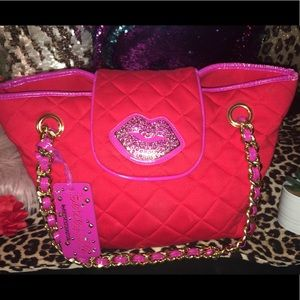 Beautiful Red and Pink Betsy Johnson purse
